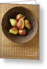 Still Life With Pears And A Rattan Bowl. Greeting Card by Diane Diederich