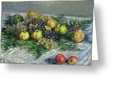 Still Life With Pears And Grapes Greeting Card