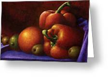 Still Life With Peppers And Olives Greeting Card