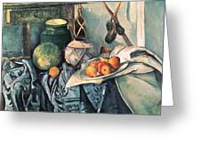 Still Life With Pitcher And Aubergines Oil On Canvas Greeting Card