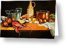 Still Life With Pots Fruit Etc. Greeting Card