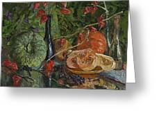 Still Life With Pumpkins And Winter Cherry Greeting Card