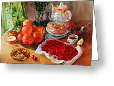 Still Life With Raspberries And Apples Greeting Card