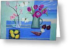 Still Life With Sea View Sold Greeting Card