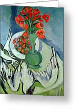 Still Life With Seagulls Poppies And Strawberries Greeting Card