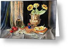 Still Life With Sunflowers Lemon Apples And Geranium  Greeting Card