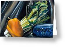 Still Life With Yellow Pepper Bok Choy Glass And Dish Greeting Card