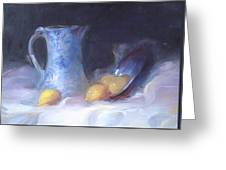 Still Life With Yellows And Blues Greeting Card