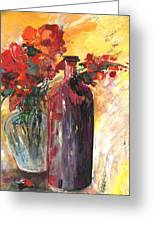 Still Live With Flowers Vase And Black Bottle Greeting Card