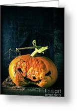 Stingy Jack - Scary Halloween Pumpkin Greeting Card by Edward Fielding