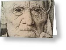 Stippling Of An Old Man Greeting Card by Lisa Marie Szkolnik