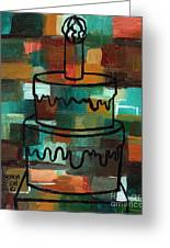 Stl250 Birthday Cake Earth Tones Abstract Greeting Card