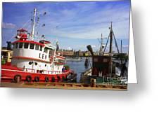 Stockholm Harbor Ships Greeting Card