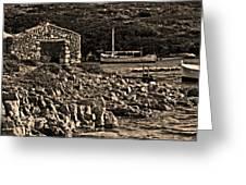 Roman Port Of Sa Nitja In Minorca - Stone And Sea Sephia Version Greeting Card