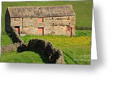 Stone Barn With Red Doors In Swaledale Yorkshire Dales Greeting Card