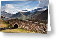 Stone Bridge In Mountain Landscape Greeting Card