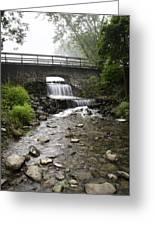 Stone Bridge Over Small Waterfall Greeting Card