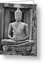 Stone Buddha Greeting Card by Adam Romanowicz