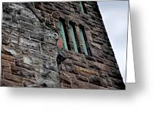 Stone Building Facade With Trefoil Window And Carved Detail Greeting Card