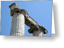 Stone Carved Columns At The Temple Of Aphrodite  Greeting Card