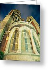 Stone Church Exterior Facade Windows At Night Greeting Card