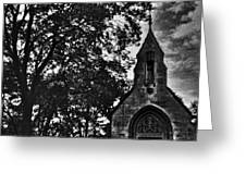 Stone Church In Black And White Greeting Card