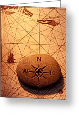 Stone Compass On Old Map Greeting Card by Garry Gay