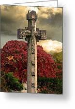 Stone Cross In Fall Garden Greeting Card
