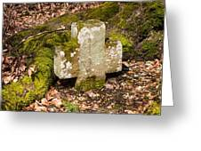 Stone Cross In The Forest Greeting Card