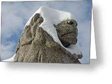 Stone Lion Covered With Snow Greeting Card