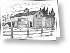 Stone Ridge Barn With Flag Greeting Card