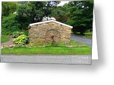Stone Well Cover And Wheel Greeting Card