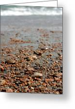 Stones And Waves At Beach  Greeting Card