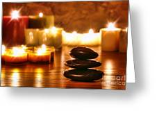 Stones Cairn And Candles Greeting Card