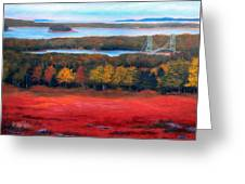 Stonington Bridge In Autumn Greeting Card