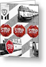 Stop For Students Painterly Bw Red Signs Greeting Card