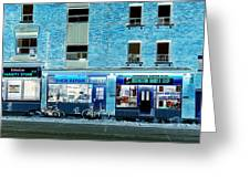 Stores On Ossington In Blue Greeting Card