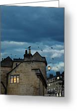 Storm Above Town Greeting Card