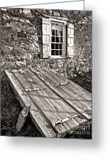 Storm Cellar And Window Greeting Card by Mark Miller