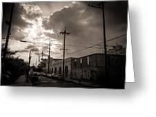Storm Clouds Over Chartres Street In New Orleans.  Greeting Card by Louis Maistros