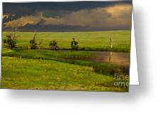 Storm Crossing Prairie 1 Greeting Card