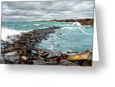 Storm In Rockport Harbor Greeting Card
