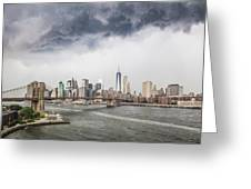 Storm Over Manhattan Downtown Greeting Card