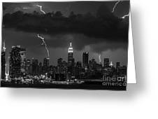 Storm Over Nyc  Greeting Card