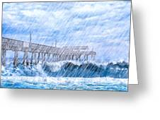 Storm Over The Sea - Tybee Pier Greeting Card