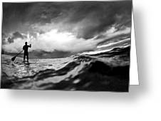 Storm Paddler Greeting Card by Sean Davey