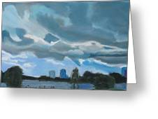 Storms Rolling In Over Lake Highland In Orlando Greeting Card