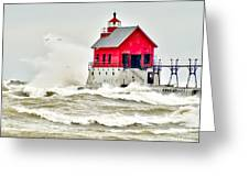 Stormy At Grand Haven Light Greeting Card