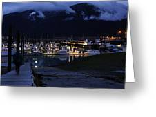 Stormy Boat Harbor Greeting Card