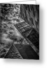 Stormy Clouds Over Modern Building Greeting Card